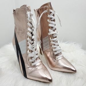 Rose Gold Sneaker Lace up Stiletto Heels. Size 9